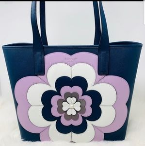 Kate spade reiley navy and lavender flower purse